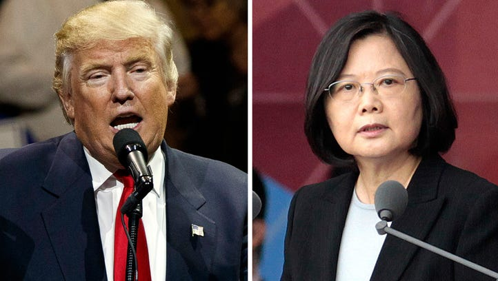 President-elect Donald Trump, left, and Taiwan's President