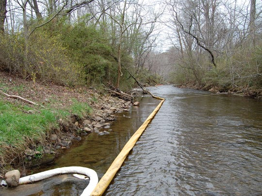 This hard boom was placed on the Cheoah River in Robbinsville
