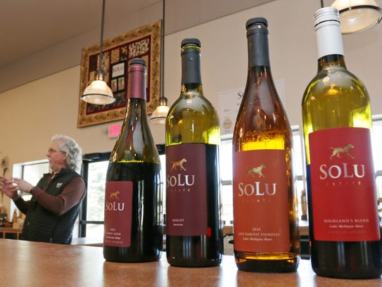 A line of wines from SoLu Estate are shown on display