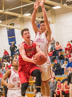 Riverheads' Braeson Fulton scores a layup against Lancaster in the third quarter of their VHSL Class 1 boys basketball tournament quarterfinal on Saturday, March 3, 2018, at Washington & Lee High School in Montross, Va. The Gladiators lost 69-49.
