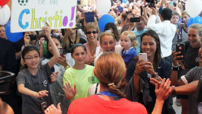 US women's soccer superstar and Monmouth County resident Christie Rampone was celebrated at Jersey Shore University Medical Center to welcome her home from the World Cup win during an event at the Neptune hospital on Tuesday July 28,2015. Rampone is greeted by hundreds of fans as she enters the hospital for the event.
