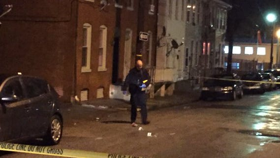 One person was shot around 8:30 p.m. Sunday in the 200 block of South Hartley Street. (Christopher Dornblaser)