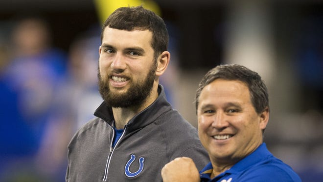 Andrew Luck (left), and Clyde Christensen, quarterback coach for the Colts, Lucas Oil Stadium, Indianapolis, Sunday, Dec. 20, 2015.