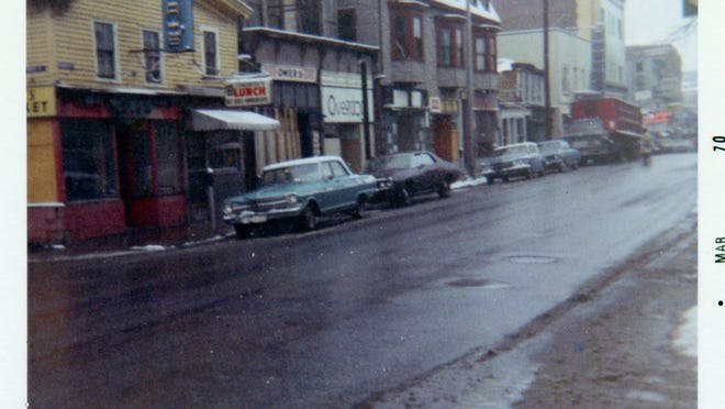 This circa-1968 photo was taken from Islington Street, looking toward Congress Street. The buildings in the foreground were demolished during the Vaughan Street Urban Renewal Project and are the current site of the Bridge Street parking lot. In the distance is the YMCA building, which is now being transformed into a jazz and blues club.