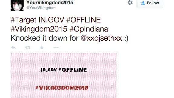 Twitter account @YourVikingdom has claimed responsibility for taking down indy.gov in response to the signing of the Religious Freedom Restoration Act, Friday, March 27, 2015.