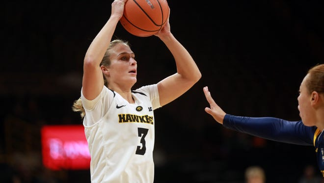 Iowa's Makenzie Meyer looks for an open teammate during the Hawkeyes' game against Quinnipiac at Carver-Hawkeye Arena on Friday, Nov. 10, 2017.