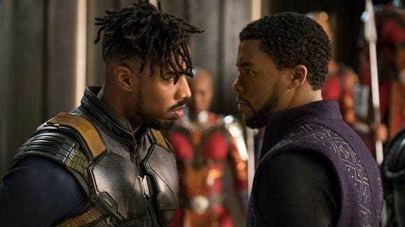 Erik Killmonger (Michael B. Jordan) and T'Challa/Black