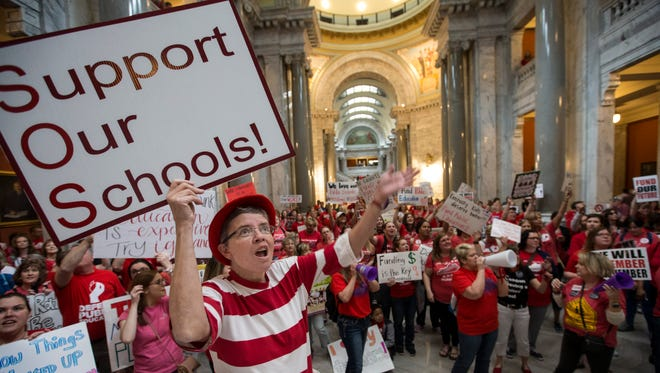 Teacher rally at the Capitol in Frankfort in April 2018.