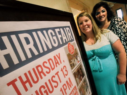 Kimberly Ortiz, left, a military spouse, will join Deana Garcia of Employment Readiness at the Fort Bliss Hiring Fair on Thursday.