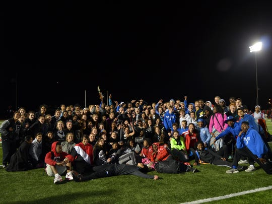 Park track and field athletes unite following the April 22 City Meet at Plymouth-Canton Educational Park.