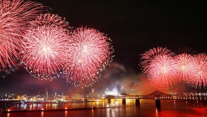 Fireworks light up the sky during Thunder Over Louisville on April 21, 2018.