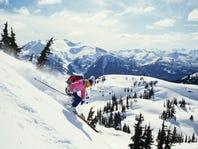 Downhill skier in Whistler, British Columbia