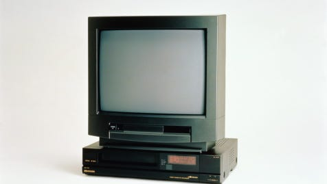 Television and video against white background