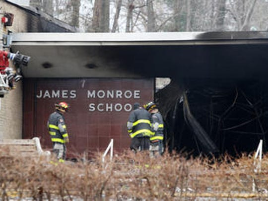 Charred James Monroe Elementary School following the six-alarm fire on March 22, 2014.