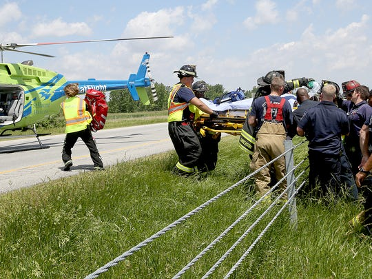 One person died and six injured in a wreck that happened June 3, 2014 in the the northbound lanes of Interstate 69 just south of the Daleville exit. Both directions of the I-69 were closed for more than an hour as crews attended to the victims.