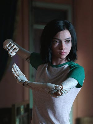 """Alita, voiced by Rosa Salazar, in a scene from """"Alita: Battle Angel."""""""