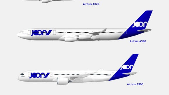 "Air France-KLM released this rendering of the fleet it plans to use for its new subsidiary named ""Joon."""