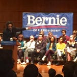 Academic and author Cornel West addresses a crowd of about 300 Saturday afternoon at Grinnell College in support of Sen. Bernie Sanders, I-Vt.