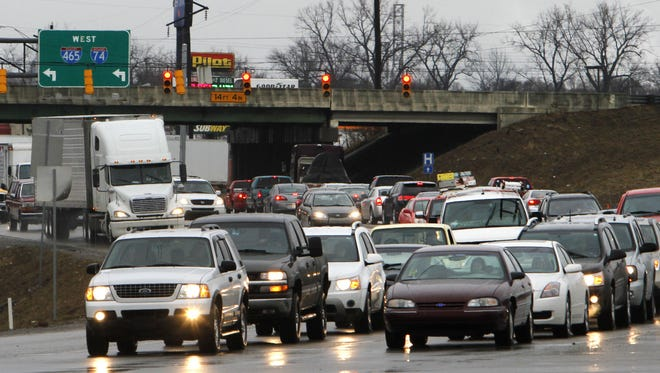 FILE – Traffic flows south on Harding Street (Ind. 37) at I-465 at the outset of construction for I-69.