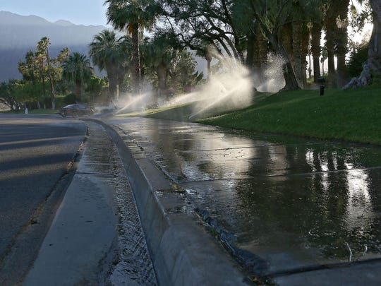 Poorly positioned sprinklers send gallons of wasted water onto San Rafael Road in Palm Springs near Highway 111 in late 2014.