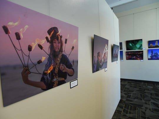 Burning Man, Through the Artist's Lens photo exhibit is seen at the Reno-Tahoe Airport on Aug. 13, 2015.