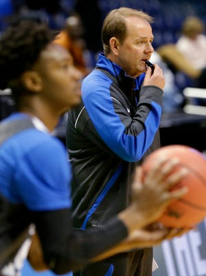 Middle Tennessee State head coach Kermit Davis, right, said his team is working to bring high-profile opponents to Murfreesboro.