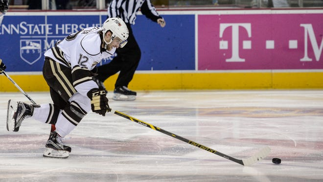 Hershey's Nathan Walker gets a breakaway  during an earlier regular-season home game against WIlkes-Barre/Scranton on Dec. 6, 2015. The Bears hosted Utica on Sunday following a three-game road trip.