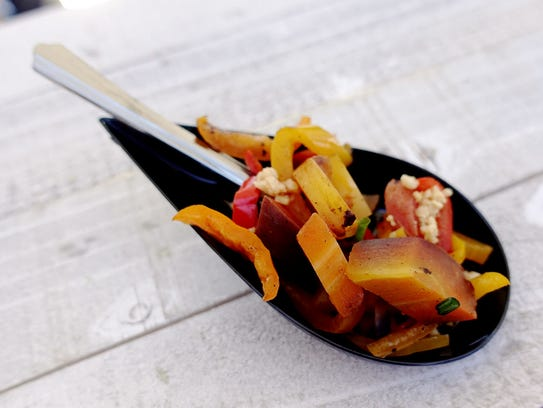 Coal roasted carrot salad with sugar chlie coulis and