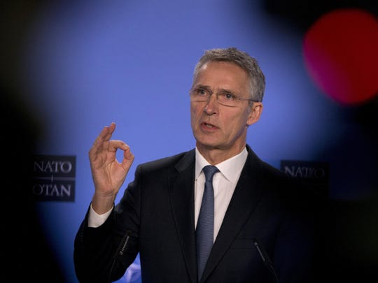 NATO Secretary General Jens Stoltenberg speaks during a media conference after a meeting of the NATO-Russia Council at NATO headquarters in Brussels, Jan. 25, 2019.