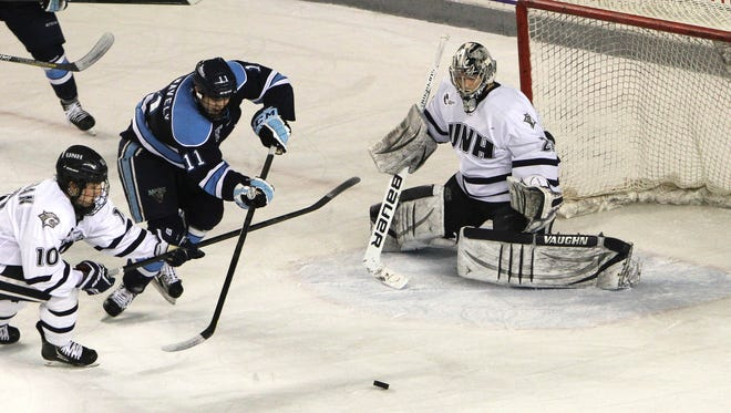 University of Maine captain Steven Swavely, center, had 19 points this season.