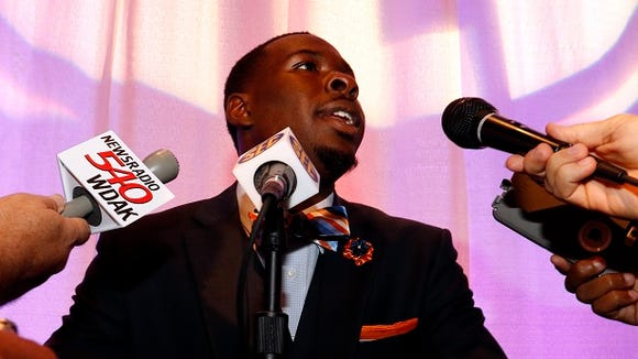 Auburn's Jeremy Johnson speaks at the Southeastern