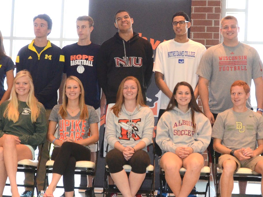 Northville High School honored its future collegiate athletes in a ceremony on May 19 including (back row, from left) Brian Griffiths, Fred Schulz, Lauren Rodriguez; Jason Ferrante, David Morrissey, Ryan Roberts, Nathan Kellum, David Moorman, Zachary Graham and P.J. Schnepp and (front row, from left) Katie Childers, MaKenna Strunk, Emily Maresh, Audrey Tatge, Paige Chapman, Ashley Schiffer, Sarah Castellano, Sean McCullough, Tyler Lowe, Evan Flohr and Dugan Darnell.