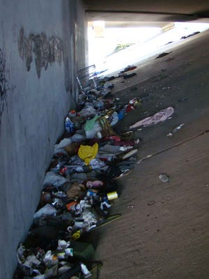 Debris found under a freeway overpass was removed by the Nevada Department of Transportation