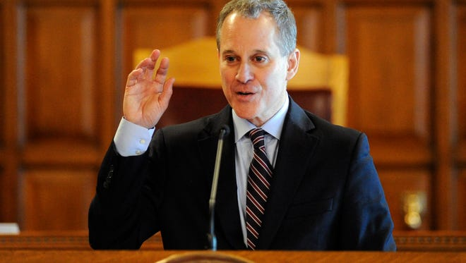New York State Attorney Eric T. Schneiderman speaks during a Law Day event at the Court of Appeals in May of last year.