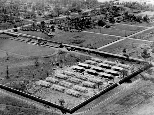 Veteran's housing at Selke Field, St. Cloud State University, is shown in this photo from 1946.