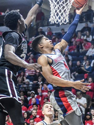 Ole Miss guard Breein Tyree (4) has helped the Rebels with their turnover problem as of late.