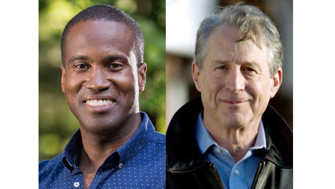 Republican candidates for the U.S, Senate, John James and Sandy Pensler
