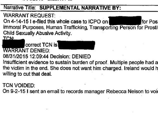 This screen grab of a report from the Michigan State University Police Department shows prosecutors denying charges against an MSU student whose laptop was used to post prostitution advertisements featuring a 14-year-old girl online.