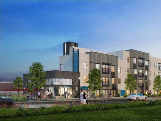 An artist's rendering shows what a new apartment building would look like at the site of the former Lamico building.