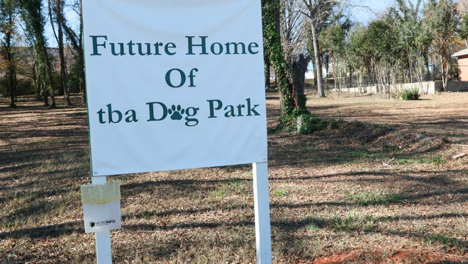 A sign for the future home of TBA Dog Park along Fant Street is not complete.