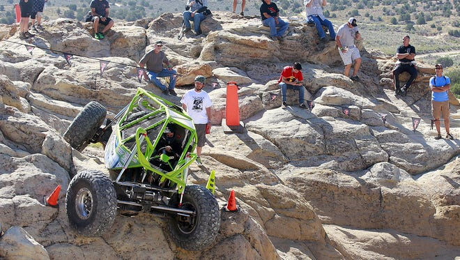 Driver Jessica Johnston of Winchester, Va., descends a steep slope on Sept. 10, 2016, while competing in the World Extreme Rock Grand National Championship, which is one example of the outdoor recreation opportunities that exist in the area.