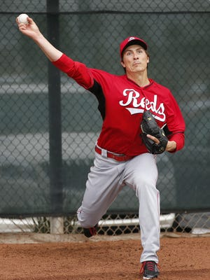 Reds pitcher Homer Bailey throws during his second bullpen session.