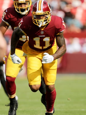 Washington Redskins wide receiver Terrelle Pryor runs down field during a preseason NFL football game between the Cincinnati Bengals and Washington Redskins, Sunday, Aug. 27, 2017, in Landover, Md.