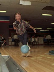Pete Couture bowls at a tournament in 1995.