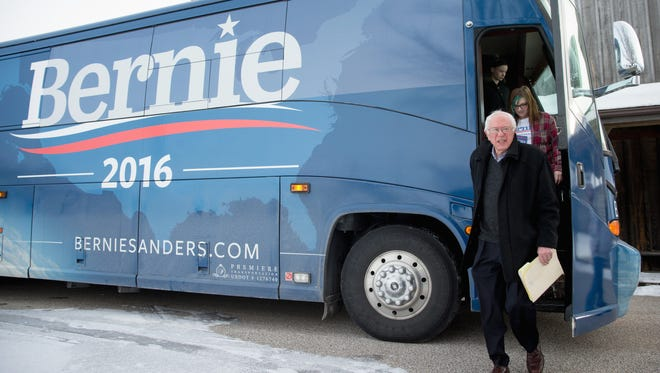 Democratic presidential candidate Sen. Bernie Sanders, I-Vt. arrives for a campaign stop at the Fort Museum Opera House in Fort Dodge, Iowa, Tuesday, Jan. 19, 2016.