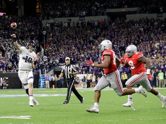 Northwestern quarterback Clayton Thorson (18) throws during the second half of the Big Ten Championship Game against Ohio State on Dec. 1 in Indianapolis.