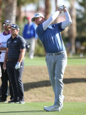 Hudson Swafford tees off on the 18th hole at the Jack Nicklaus Tournament Course at PGA West during the CareerBuilder Challenge, January 20, 2016.