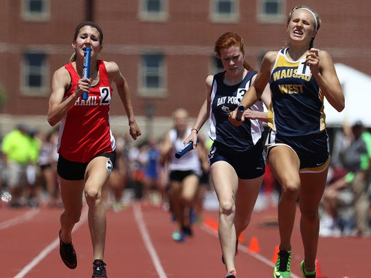 Wausau West's Brooke Jaworski, right, was part of three state championships and two state records as a freshman during the WIAA statte track meet last June.