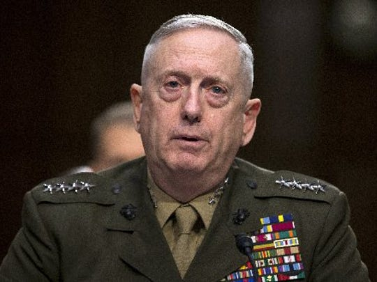 In this March 5, 2013, file photo, then-Marine Gen. James Mattis, commander, U.S. Central Command, testifies on Capitol Hill in Washington.