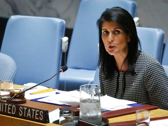 United Nations U.S. Ambassador Nikki Haley address the Security Council after a vote on a resolution condemning Syria's use of chemical weapons failed, Wednesday, April 12, 2017 at U.N. headquarters.